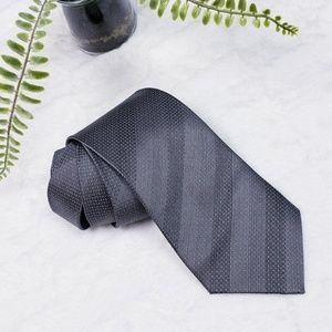 DKNY Men's Grey Striped 100% Silk Tie
